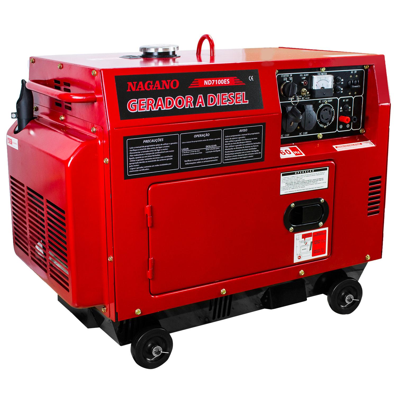 Nagano Máquinas - Gerador de Energia a Diesel Silenciado 6 KVA Partida  Elétrica – ND7100ES3D 84a2de8fea